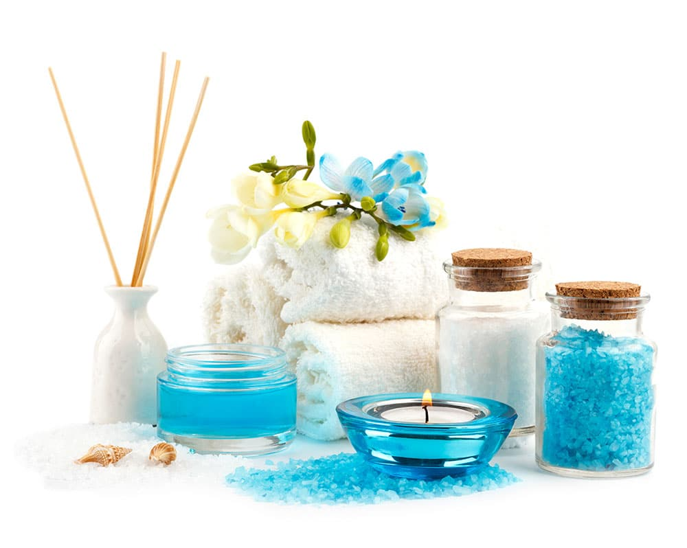 Ultimate Quick Fix accessories including aroma therapy and sugar scrub